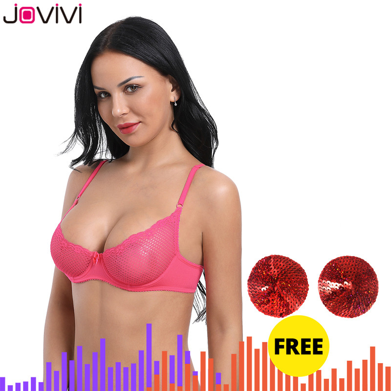 Jovivi Summer Womens Sexy Lace Bra Mesh Delicate Underwire Unlined Demi 1/2 Cup Black/White/Beige/Neon Pink Thin 1pc