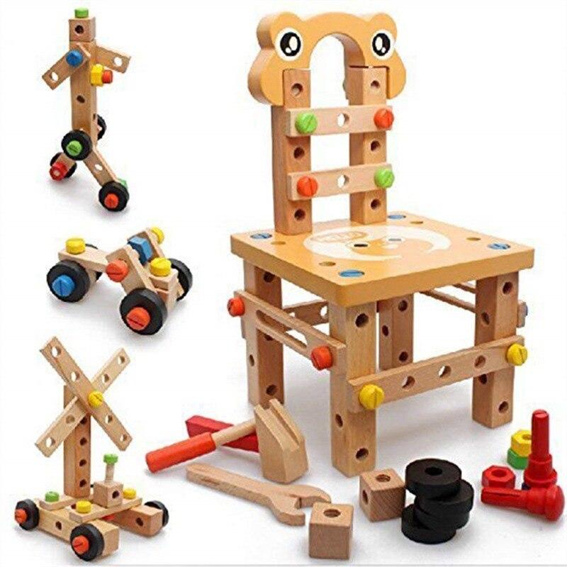 52 pièces assemblage jouets en bois multifonction en bois Construction ensembles bricolage vis bloc activité travail chaise Construction ensembles Puzzle
