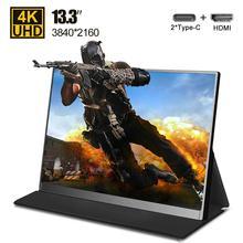 Monitor portátil ultradelgado 4K tipo C de 13,3 pulgadas, para teléfono, portátil, PS4, Switch, Xbox, gaming, pantalla LED, USB C, HDMI