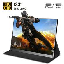 """Ultra thin 13.3"""" inch 4K Type C portable monitor for phone laptop PS4 Switch Xbox gaming monitors LED screen display USB C HDMI"""