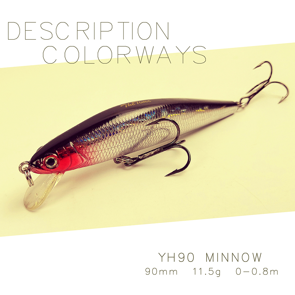 YH90 Floating Jerkbait Minnow lure artificial fishing wobbler bait tackle for sea bass trout perch pike surface fish lures
