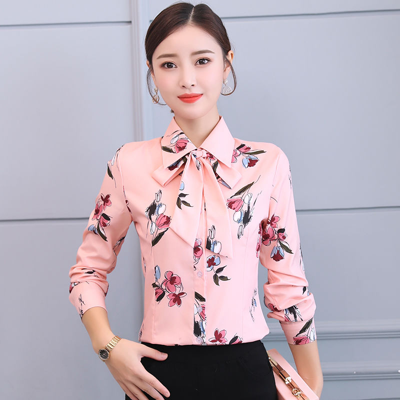 ShaoKou Fashion Large Size Women Chiffon Blouses 2020 New Summer Long Sleeve Casual Shirt  Loose Blouse Office Lady Top
