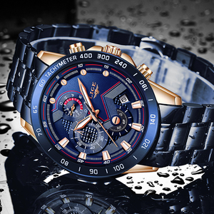 Image 4 - ליגע 2020 חדש אופנה Mens שעונים עם נירוסטה למעלה מותג יוקרה ספורט הכרונוגרף קוורץ שעון גברים Relogio Masculino