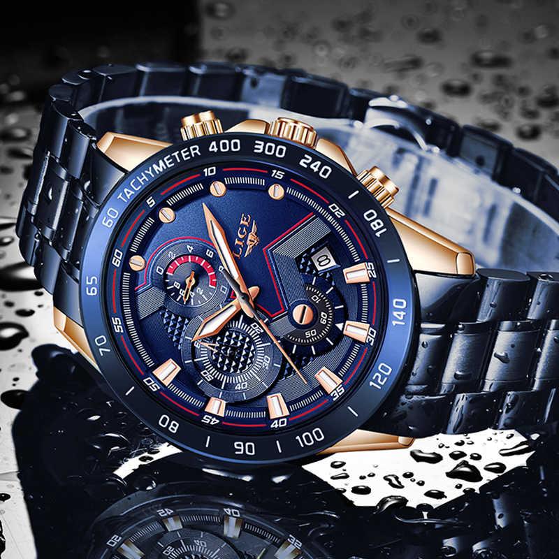 LUIK 2019 Nieuwe Horloges Mannen Roestvrij Stalen Band Quartz Horloge Militaire Chronograaf Klok Mannelijke Mode-Sport Horloge Waterdicht