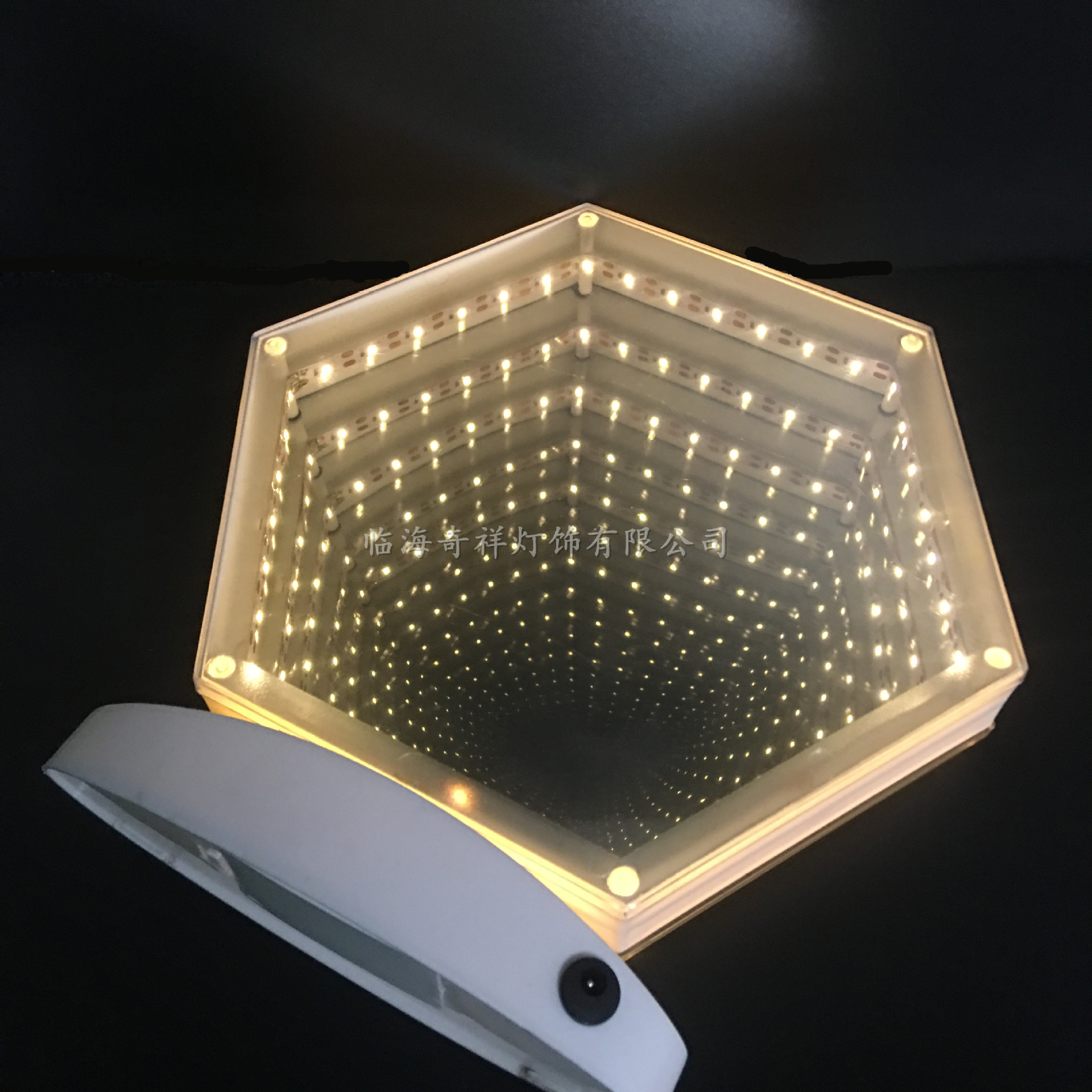 3D Hexagonal Battery USB Dual-Use Double-sided Mirror Tunnel Light Belt Base Time Dreamy Romantic Background Small Night Lamp