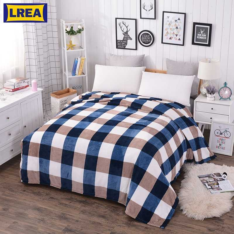 LREA  плед blue grid home textile Coral Fleece blanket on the bed soft plaid warm winter sofa travel throw plaid bedspread