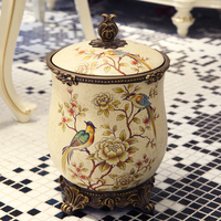 Large European style retro living room dustbin domestic decoration American style storage bin resin painted paper basket with co