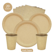 20Guests Disposable Kraft Paper Tableware Sets Plates Cups Napkins Birthday Party Wedding Decration Supplies Eco-Friendly