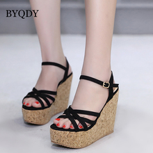 BYQDY Wedge Heels Summer Sandals Peep Toe Ankle Strap High Wooden Platform Woman Sandals Roman Styles High Heels Shoes Black high quality women sandals stylish platform peep toe square heels sandals black beige nice shoes woman us size 3 5 10 5