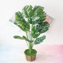Palmier artificiel plantes feuilles tortue feuille Tropical grand palmier feuilles Imitation feuille plantes maison cuisine décorations