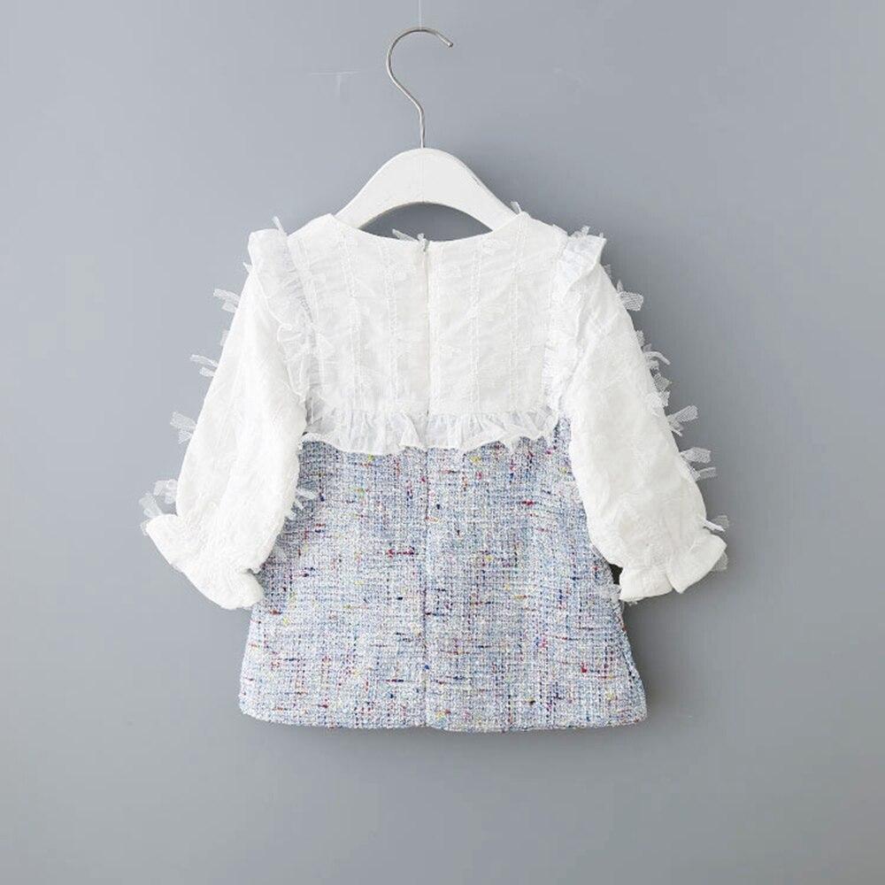 2020 Spring  Autumn Baby Infants Ruffles Sweet Bow Knit Knitwear Patchwork Long Sleeve Dress For Girls Princess Vestidos S9507