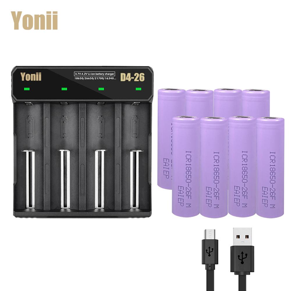 EAIEP 8pcs rechargeable lithium <font><b>battery</b></font> 18650 3.7v rechargeable <font><b>battery</b></font> + <font><b>battery</b></font> charger for 3.7v 18700,18650,18500,18490,<font><b>16650</b></font> image