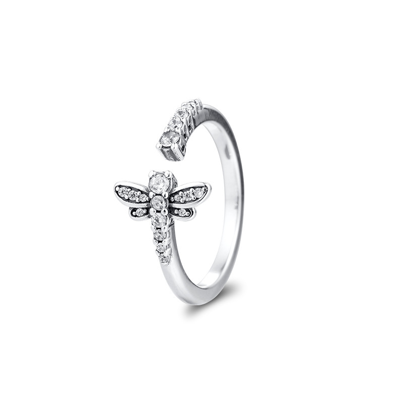 Sparkling Dragonfly Open Ring Jewellery 925 Sterling Silver Wedding Rings for Women Pave Stones Spring Silver Ring Jewelry Gift