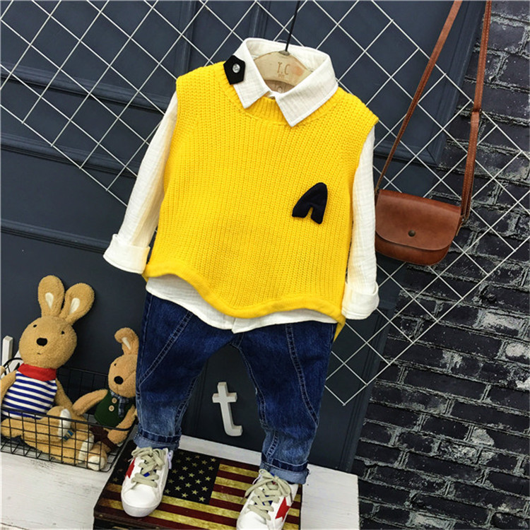 3PCS WLG Kids Clothing Set Boys Spring Outfits Baby Yellow Black Knitted Vest White Shirt and Jean Set Children Clothes 2-7T