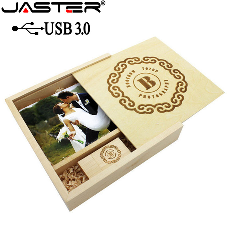 JASTER USB 3.0 Photography Wooden Photo Album Usb+gift Box Usb Flash Drive Pendrive 16GB 32GB 64GB Wedding Gift 1PCS Free Logo
