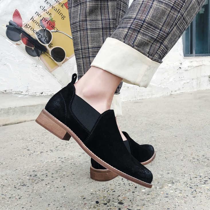 Kadın hakiki deri pompaları 22-24.5 cm düşük topuk yuvarlak ayak vintage moda rahat ayakkabılar İlkbahar ve sonbahar vahşi seksi el yapımı