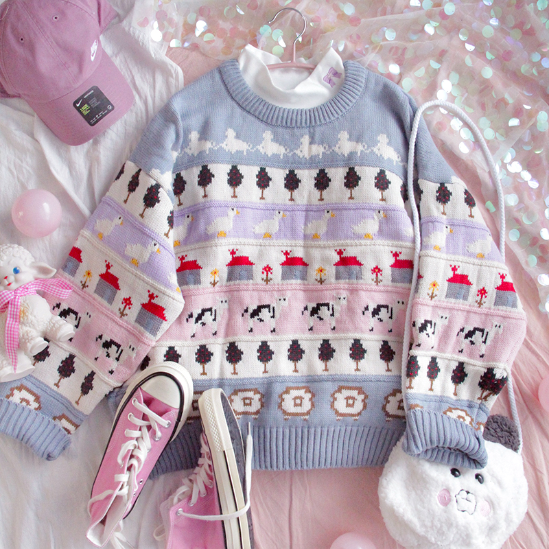 Sweater Teen Girls Thicken Pullover Winter Loose Wear Student Cute College Style Vintage Soft Sister Long Sleeve Sweater Tops