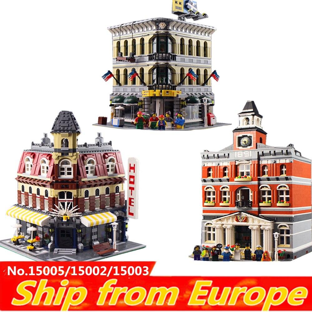 Lepinblocks KING 16001 16060 city street creator harry miasta zamek z klocków klocki 10211 10211 10246 zabawki boże narodzenie prezent w Klocki od Zabawki i hobby na  Grupa 1