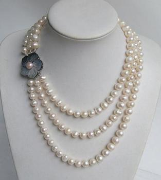 Unique Pearls jewellery Store AA 8-9MM 3 rows White Round Real Freshwater Pearl Necklace Charming Women Gift Fine Jewelry