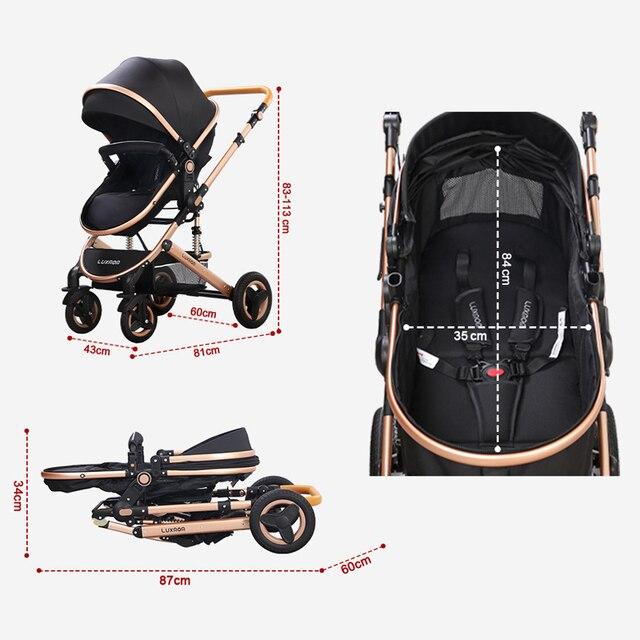 Luxmom carrinho de bebê 3 em 1 com assento de carro materiais ambientalmente amigáveis absorção de choque de quatro rodas enviar de espanha 5