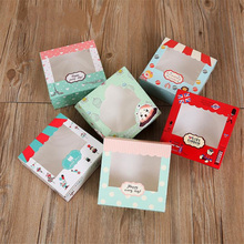 10Pcs Paper Gift Box With Window Wedding Party Wave point Kraft Cake Food Packaging Candy Cookies Cupcake Cute Pattern