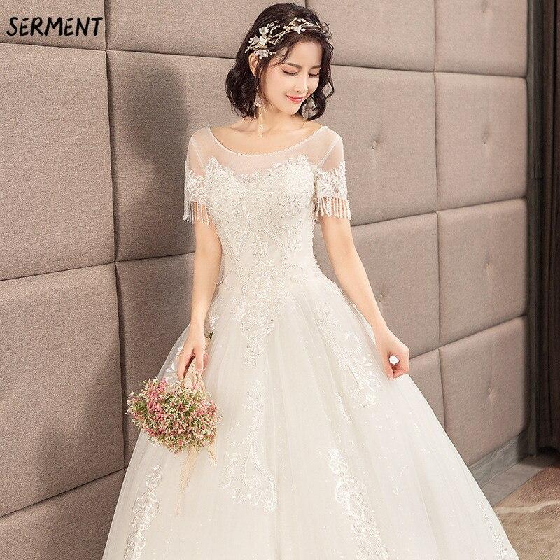 SERMENT Simple impression florale mariage dentelle queue à manches longues aristocratique élégante mariée impression Explosion robe de mariée - 4