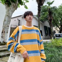 Mens sweater 2019 autumn and winter new fashion striped Hong Kong wind loose couple youth trend mens clothing