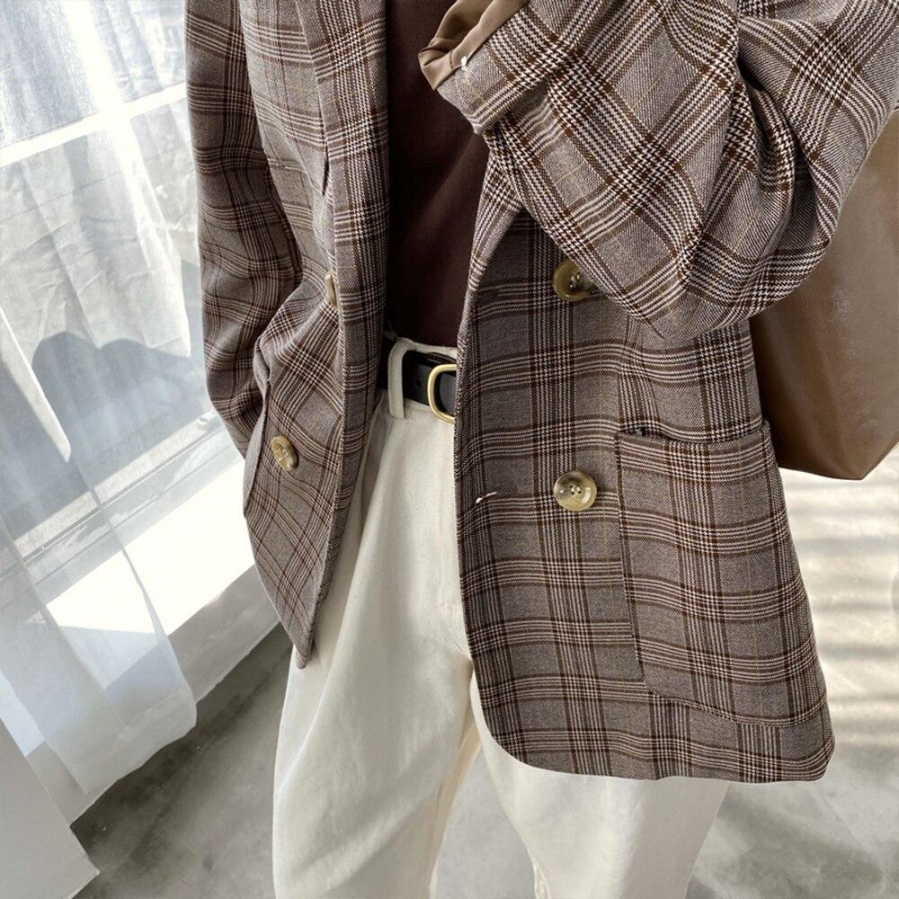 Plaid Elegant Office Ladies Women Blazer Suit  Pocket Loose Oversize Vintage Classic Tops Coat 2020 Spring Fashion Streetwear