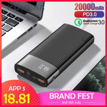 Kuulaa banco de potência 20000 mah qc pd 3.0 poverbank carregamento rápido powerbank 20000 mah usb carregador de bateria externa para xiaomi mi 10 9