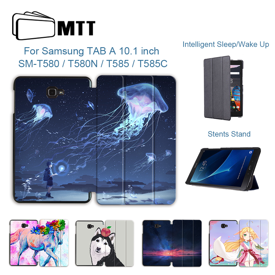 MTT PU Leather Case For Samsung Galaxy Tab A  A6 10.1 Inch T580 T585 SM-T580 SM-T585 Magentic Flip Smart Cover Tablet Funda