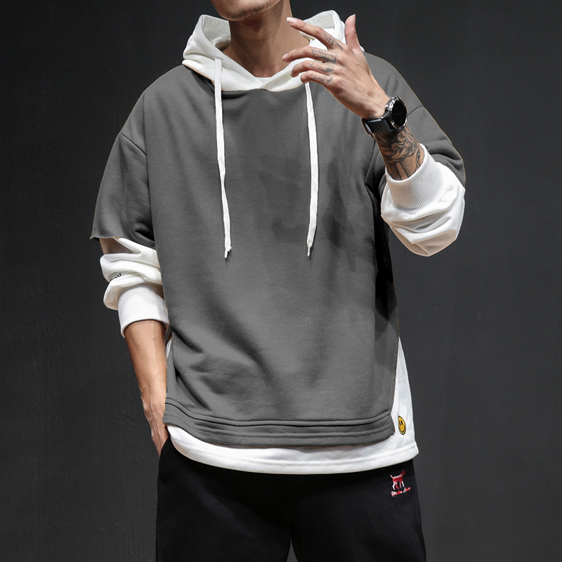 Dropshipping Mens Sport Hooded Cotton Sweatshirt Men Patchwork Fake Two Pieces Hoodies 2019 Casual Pocket Male Pullover