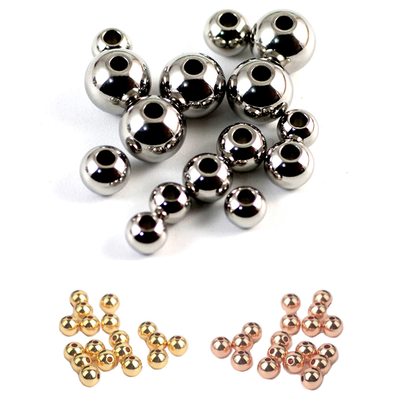 Gold Plated Stainless Steel 3mm 4mm 5mm 6mm Ball Bead Metal Round Spacer Loose Beads For DIY Charms Bracelet Jewelry Accessories