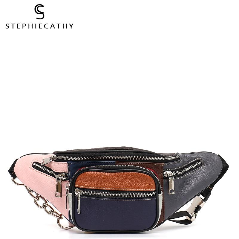 SC Multi Color Patchwork Waist Pack Chest Bags Women Small Zip Pockets Belt Shoulder Bag Genuine Leather Ramdon Color Girl Purse