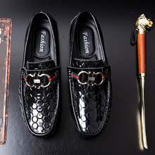 Trendy Glossy Lattice Men Loafers British Genuine Style Leather Flats Non-slip Driving Shoes Soft Handmade Casual