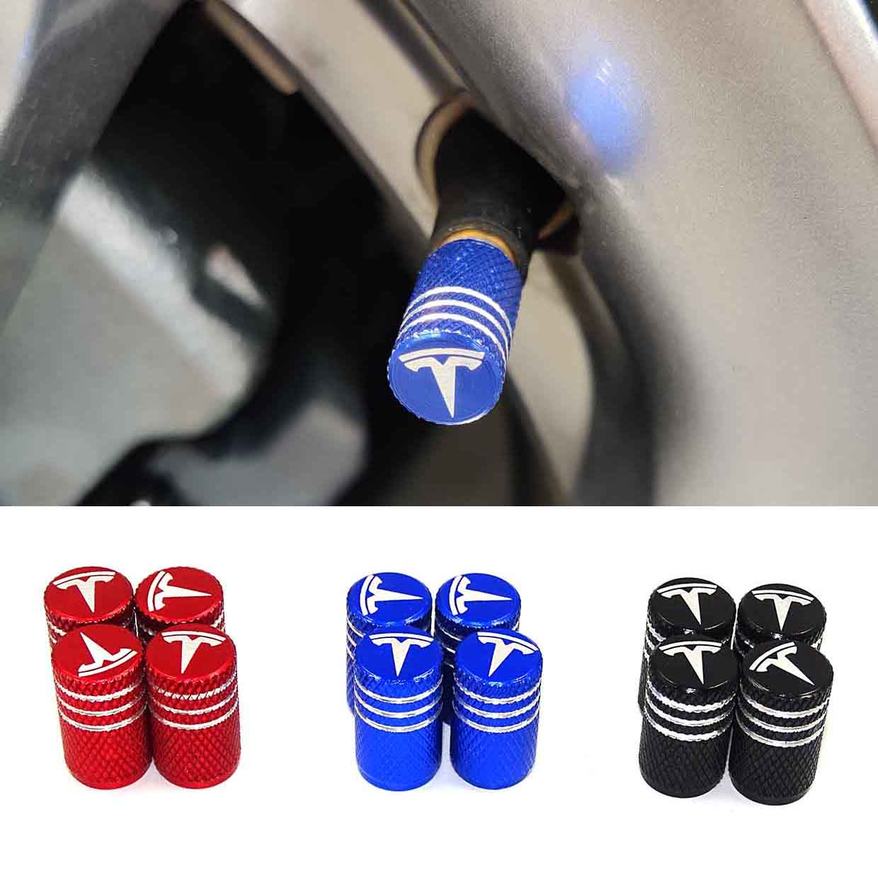 High Quality Aluminum Alloy Car Tire Wheel Valve Cap Cover Logo Valve Mouth Styling Accessorie For Tesla Model S Model X Model 3