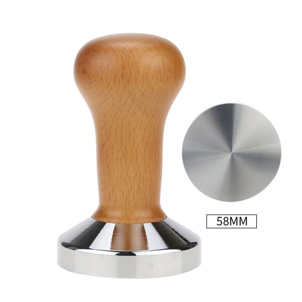 Food Grade Coffee Tamper 51mm 58mm Wooden Handle Barista Espresso Maker Grinder Steel Handmade Coffee Powder Maker Flat Base