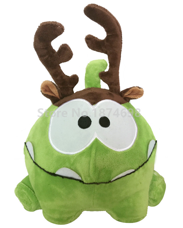 New Cut The Rope Om Nom With Antlers Plush Toy 21cm Cute Frog Stuffed Animals Soft Kids Toys For Boys Children Gifts