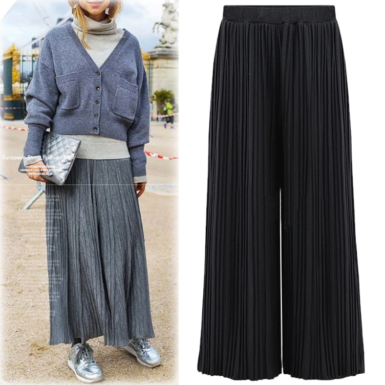 Wide     Leg     Pants   Woman French Style Solid Knit Elastic Waist Loose Female Long Pleated   Pants