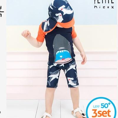 New Style Children Sun Blocking Bathing Suit Cartoon BOY'S Boy Shark Half Sleeve Split Type Boxer Hooded Swimwear Spa Resort