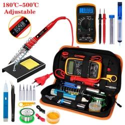 Kit de ferro de solda elétrica temperatura handskit 110 v 220 v 80 w kit de ferro de solda com kits de ferramentas de solda multímetro