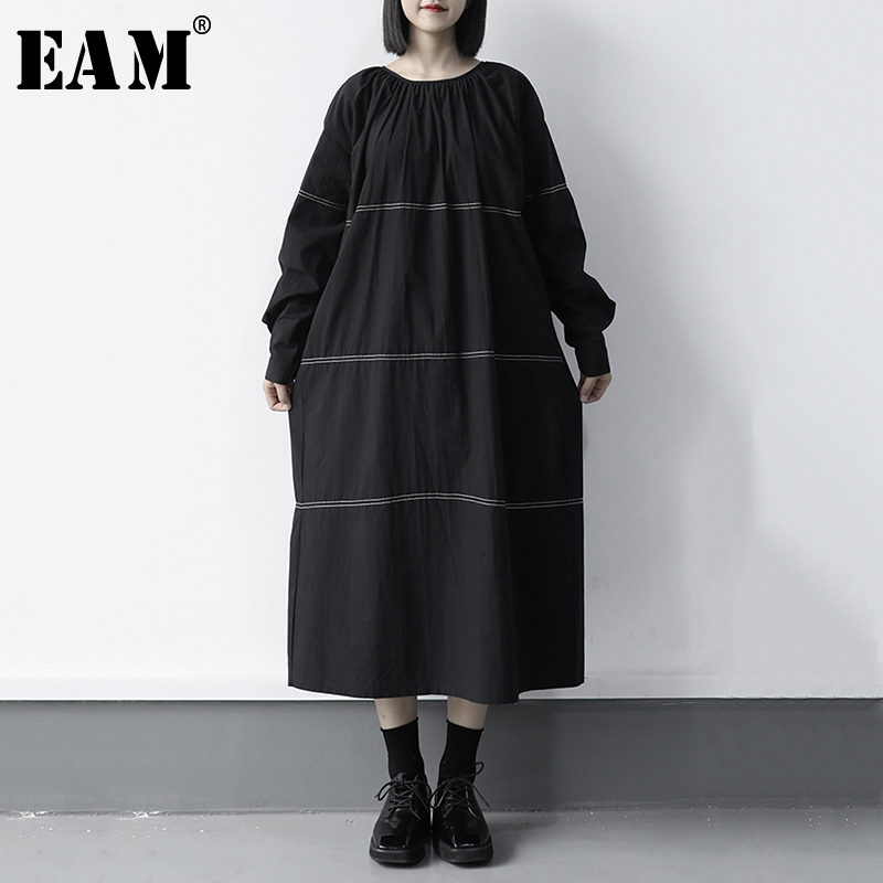 [EAM] Women Black Line Split Joint Big Size Dress New Round Neck Long Sleeve Loose Fit Fashion Tide Spring Autumn 2020 1S413