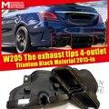 Наконечники для выхлопа 4 выхода подходит для MercedesMB W205 Sports C Class C180 200 230 250 300 1 пара титановые черные наконечники для выхлопа с 4 отверстиями 15 +