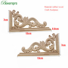 13cm Unique Natural Floral Wood Carved Wooden Figurines Crafts Corner Appliques Frame Wall Door Furniture Woodcarving Decorative