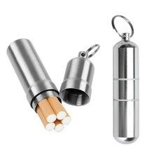 Srebrny papierośnica ze stopu aluminium wodoodporny papieros Case Pill wykałaczka uchwyt kapsuły z brelokiem męski prezent