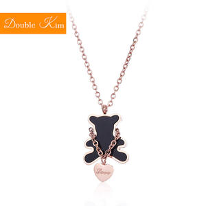 Necklace Titanium Women Jewelry Bear Pendant Rose-Gold-Color Stainless-Steel Chain Gift
