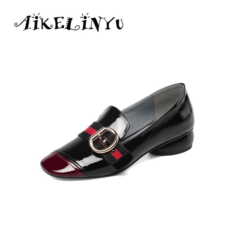 AIKELINYU Patent Leather Women Pumps Square Toe Mixed Colors Footwear Unusual Low Heels Female Shoes Fashion Casual Shoes Woman in Women 39 s Pumps from Shoes