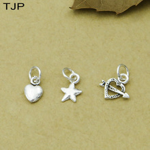 S925 Sterling Silver DIY Accessories Five-pointed Star Tag Heart-shaped Small Pendant Necklace Hanging