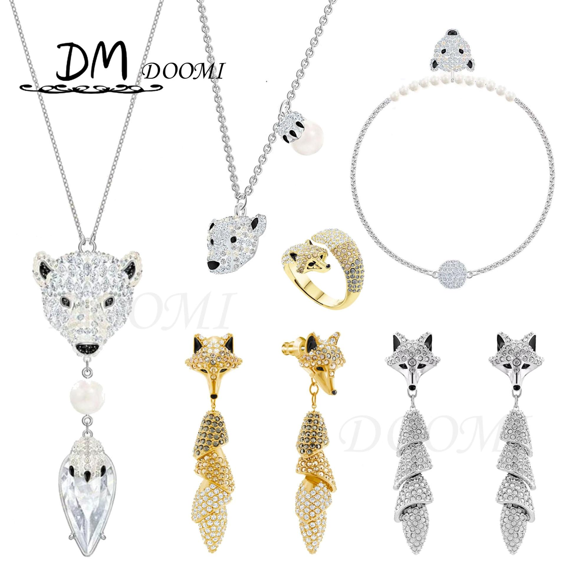 DM модные ювелирные изделия качественные SWA 1:1. Очаровательный изысканный с украшением в виде кристаллов, милые Полар-флиса с рисунком медвед...