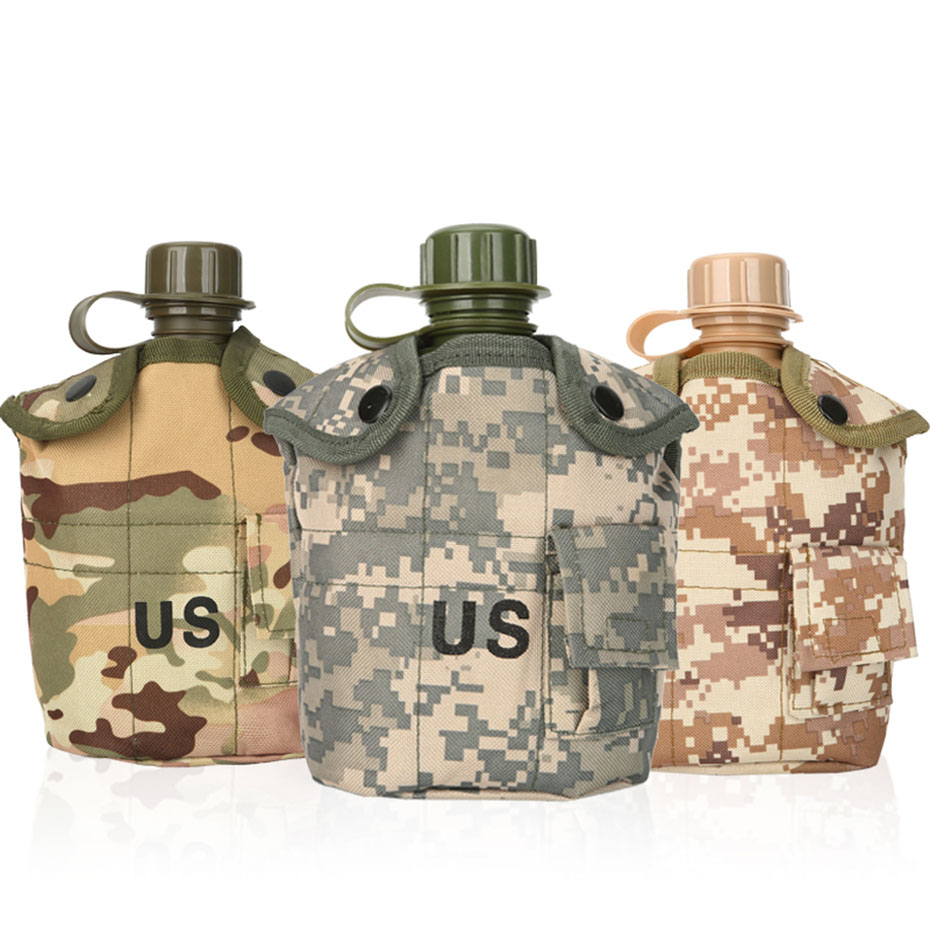 CNDRAGON Brand Large Capacity 1000ml Kettle Sport Outdoor Travel Bottle Portable Folding Water Bottle Military Camouflage Bag