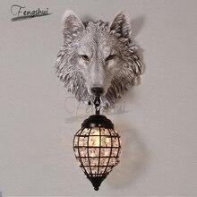 Creative Nordic Minimalist Wolf Head Art Decor Wall Lamp Living Room Bedroom Aisle Corridor Led Wall Light Mirror Light lighting
